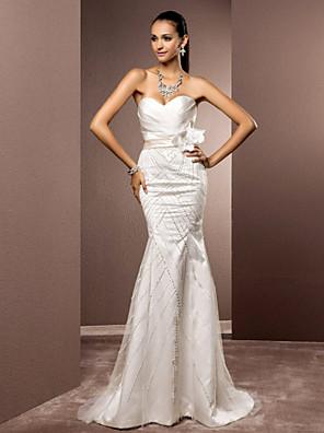 Lanting Bride® בתולת ים \ חצוצרה קטן / מידה גדולה שמלת כלה - שיק ומודרני / אלגנטי ויוקרתי ברק ונצנצים שובל סוויפ \ בראש מחשוף לבסאטן /