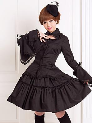 Úbory Gothic Lolita Lolita Cosplay Lolita šaty Černá Jednobarevné Dlouhé rukávy Medium Length Halenka / Sukně Pro Dámské Bavlna
