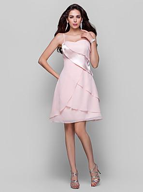 Coquetel / Reunião de Classe Vestido - Curto Linha A / Princesa Com Alças Finas Curto / Mini Chiffon / Cetim Elástico com Drapeado Lateral