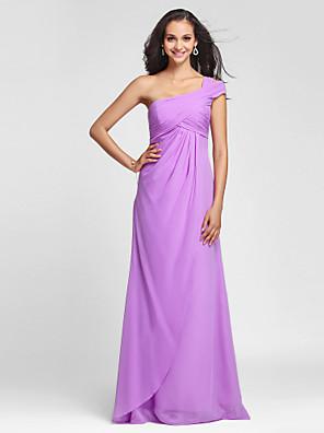 Floor-length Chiffon Bridesmaid Dress Sheath / Column One Shoulder Plus Size / Petite with Side Draping / Criss Cross