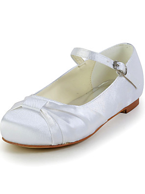 Women's Shoes Satin / Stretch Satin Spring / Summer / Fall Comfort Wedding Flat Heel Bowknot / BuckleBlack / Blue / Pink / Purple / Red /