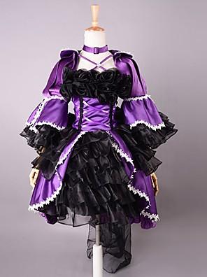 3/4-length Sleeve Kort Purple og Black Satin Gothic Lolita kjole