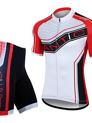 SANTIC® Camisa com Shorts para Ciclismo Homens Manga Curta MotoRespirável / Secagem Rápida / A Prova de Vento / Design Anatômico /