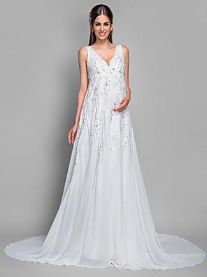 Lanting Bride® A-Linie Těhotenské Svatební šaty - Klasické & nadčasové Velmi dlouhá vlečka Do V Šifón / Krajka s Flitry / Aplikace