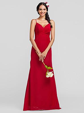 Lanting Bride® Na zem Šifón Šaty pro družičky Pouzdrové Špagetová ramínka Větší velikosti / Malé s Křížení