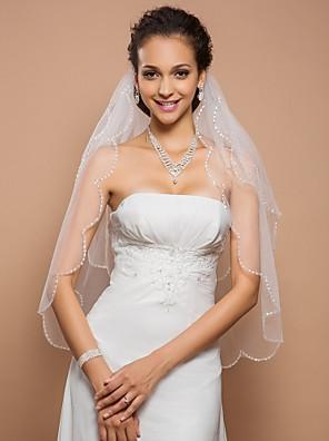 Véus de Noiva Duas Camadas Véu Ponta dos Dedos Borda Recortada 23,62 cm (60 centímetros) Tule MarfimLinha-A, Vestido de Baile, Princesa,