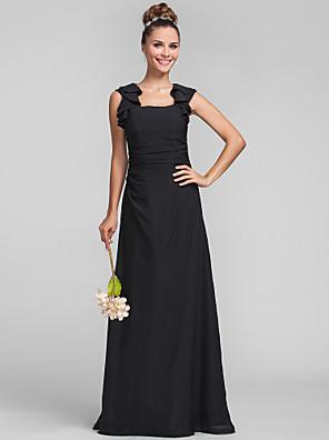Lanting Bride® עד הריצפה שיפון שמלה לשושבינה - מעטפת \ עמוד מרובע פלאס סייז (מידה גדולה) / פטיט עם קפלים / סלסולים