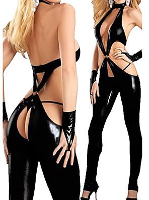 Lady Gaga Ultra Sexy Black PU Leotard Women's Costume