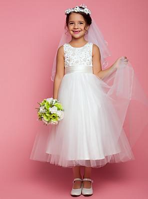 Lanting Bride A-Linie K lýtkům Šaty pro květinovou družičku - Satén / Tyl Bez rukávů Klenot s Aplikace / Korálky / Mašle / Sklady