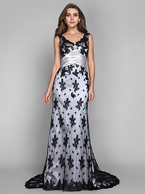 Formeller Abend / Militär Ball Kleid - Vintage inspiriert Eng anliegend V-Ausschnitt / Ausgekehlt Pinsel Schleppe Spitze / Stretch - Satin