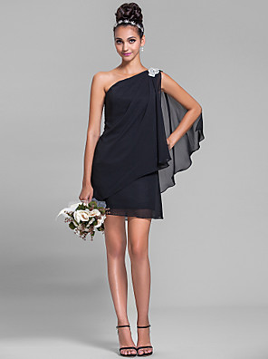 Short / Mini Chiffon Bridesmaid Dress Sheath / Column One Shoulder Plus Size / Petite with Crystal Detailing / Side Draping