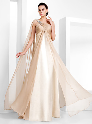 TS Couture® Formal Evening / Military Ball Dress - Elegant / Vintage Inspired Plus Size / Petite Sheath / Column One Shoulder Floor-length Chiffon