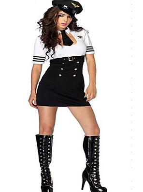 Cosplay Kostýmy Uniformy Festival/Svátek Halloweenské kostýmy Bílá Jednobarevné Šaty / Pásek / Klobouk / KravataHalloween / Karneval /