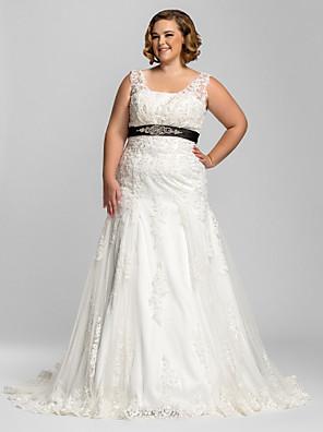 Lanting Bride® בתולת ים \ חצוצרה קטן / מידה גדולה שמלת כלה - קלסי ונצחי / זוהר ודרמטיות שמלות חתונה צבעוניות שובל קורט רצועות תחרה עם