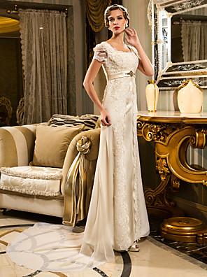 lanting novia vaina / columna de pequeña / más el tamaño de vestido de boda del tren de la corte del cordón-festoneado-Edge / satén