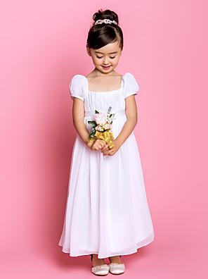 Noiva Lanting Tubinho Até o Tornozelo Vestido para Meninas das Flores - Chiffon Manga Curta Quadrado com Laço(s) / Pregueado