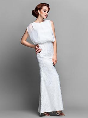 Lanting Bride® Tube / kolonne Plusstørrelse / Petite Kjole til brudens mor Gulvlang U. ærmer Chiffon / Blondelukning - Perler