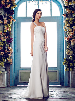 Lanting Bride® Sheath / Column Petite / Plus Sizes Wedding Dress - Classic & Timeless / Glamorous & Dramatic Sweep / Brush TrainOne
