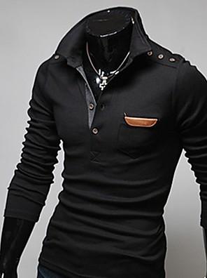 Pánské retro šití kůže dlouhý rukáv polo t-shirt