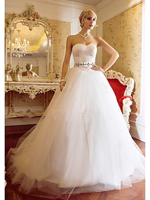 Lanting Bride® Plesové šaty Drobná / Nadměrné velikosti Svatební šaty - Elegantní & moderní / Elegantní & luxusní Dlouhá vlečka Srdce