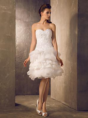 Lanting bruden-line / princess petite / pluss størrelser brudekjole-kne-lengde kjæreste blonder / organza