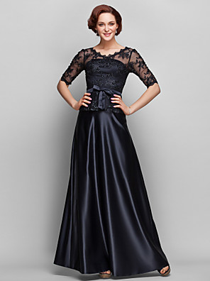 A-line Plus Size / Petite Mother of the Bride Dress Floor-length Half Sleeve Lace / Satin with Beading / Bow(s) / Lace