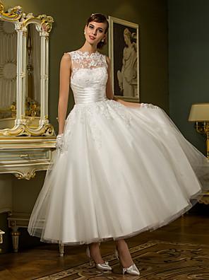 Lanting Bride® Princess Drobná / Nadměrné velikosti Svatební šaty - Šaty na hostinu Po kotníky Klenot Tyl sAplikace / Knoflíky / Šerpa /