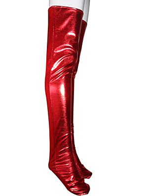 punainen kiiltävä metallinen pitkä sukat (2 kpl)