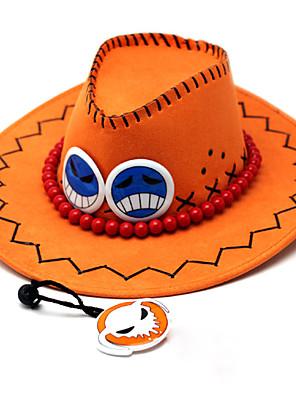 Čepice / klobouk Inspirovaný One Piece Portgas D. Ace Anime Cosplay Doplňky Nabírané / Klobouk Pomarańczowy PU kůže Pánský