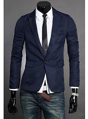 Effen-Informeel / Werk-Heren-Polyester-Blazer-Lange mouw-Zwart / Blauw / Grijs