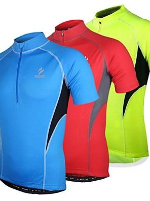 Arsuxeo® חולצת ג'רסי לרכיבה לגברים שרוול קצר אופניים נושם / ייבוש מהיר / עיצוב אנטומי / רוכסן קדמי ג'רזי / צמרות פוליאסטר טלאים אביב / קיץ