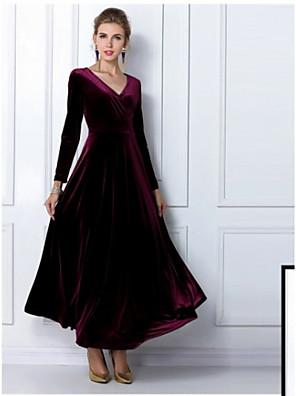 Kvinders Plusstørrelser / Vintage Plus Størrelser Ensfarvet Kjole Maxi V-hals / Draperet hals Andet