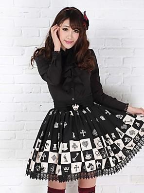 חצאית לוליטה גותי נסיכות Cosplay שמלות לוליטה Black דפוס לוליטה אורך בינוני חצאית ל נשים פוליאסטר