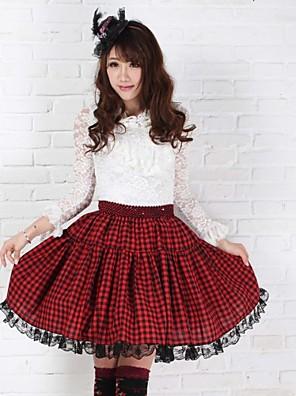 חצאית לוליטה פאנק אלגנטי Cosplay שמלות לוליטה אדום דפוס לוליטה אורך בינוני חצאית ל נשים פוליאסטר