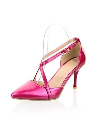 Pompe tacco a spillo della pelle verniciata delle donne / talloni con fibbia in scarpe (più colori)