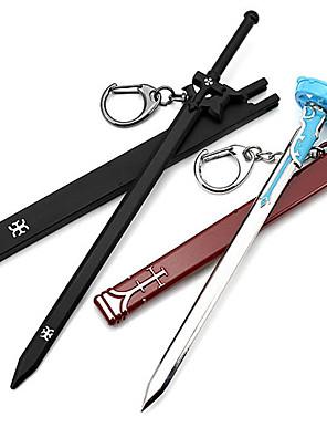 אביזרים נוספים קיבל השראה מ Sword Art Online Kirito אנימה אביזרי קוספליי חרב / שרשרת מפתחות שחור / כחול זכר / נקבה