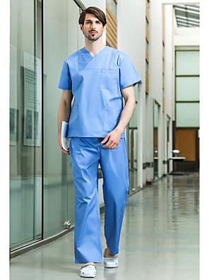 medische uniformen unisex vier zakken v-hals scrub set