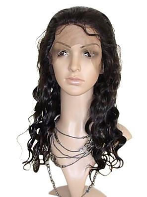 16 pouces de vague de corps de Vierge brésilienne de cheveux de Remy pleine perruque de lacet 130 Densité de cheveux de bébé dans la région de