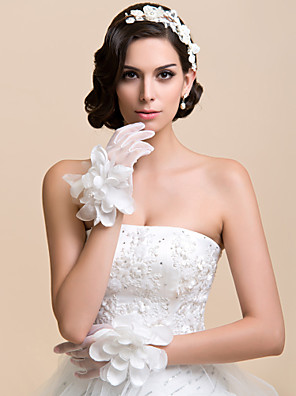 Wrist Length Fingertips Glove Net Bridal Gloves / Party/ Evening Gloves Spring / Fall / Winter White Floral