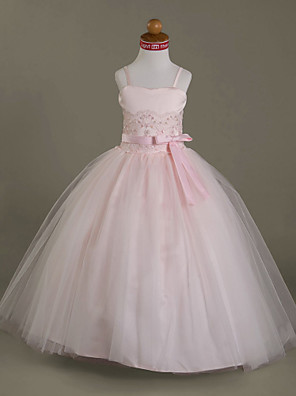 Ball Gown Floor-length Flower Girl Dress - Satin / Tulle Sleeveless Sweetheart / Spaghetti Straps withAppliques / Beading / Bow(s) /