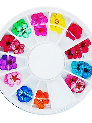 36PCS Kleurrijke Gedroogde Peach Blossom Nail Art Decorations