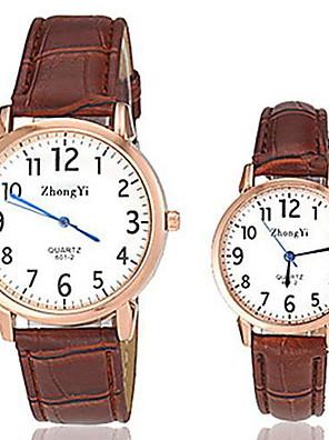 Heren / Dames / Voor Stel Modieus horloge Kwarts Leer Band Zwart / Wit / Bruin Merk-