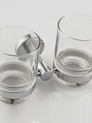 """Tandbørsteholder Krom Vægmonteret 17*10*9.5(6.9""""*3.9""""*3.7"""") Messing / Glas Moderne"""
