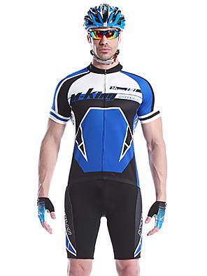 MYSENLAN® חולצת ג'רסי ומכנס קצר לרכיבה לגברים שרוול קצר אופניים נושם / ייבוש מהיר / לביש מדים בסטים כותנה / 100% פוליאסטר טלאים אביב / קיץ