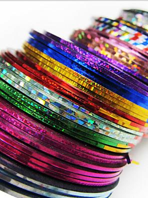 24PCS mixs Color Çizgi Teyp Hattı Nail Şerit Bant Nail Art Dekorasyon Sticker