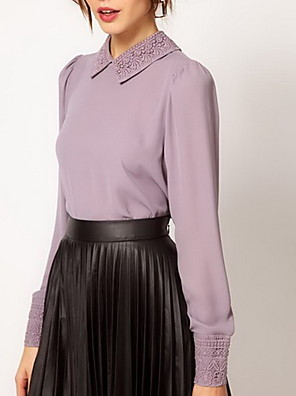 Women's Casual/Daily Simple Spring / Summer / Fall Shirt,Solid Peter Pan Collar Long Sleeve Pink / Purple Thin