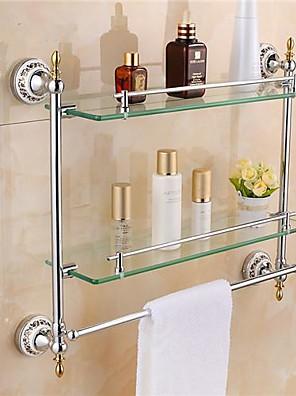 Badkamerplank Chroom Muurbevestiging 54* 12 *47.5 cm(21*4.7*18inch) Messing / Glas Modern