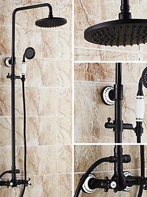 """Antik Kifolyócső és zuhany Zuhany """"eső""""szórófej / Kézi zuhanyzót tartalmaz with  Kerámiaszelep Két fogantyú három lyuk for  Olajjal"""