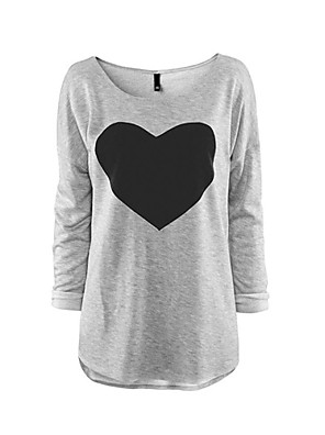 Donne Love Heart Stampa manica lunga Casual