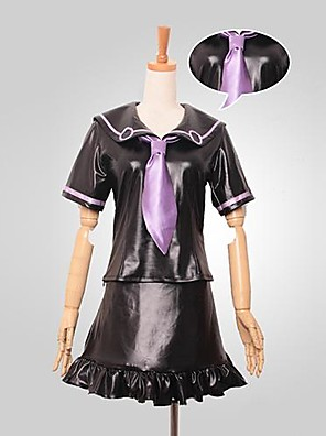 קיבל השראה מ הרפתקאות ביזאריות של ז'וז'ו Kotori Minami אנימה תחפושות קוספליי חליפות קוספליי טלאים שחור קצר עליון / חצאית